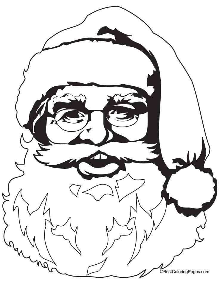 happy santa clause head coloring page download free happy santa