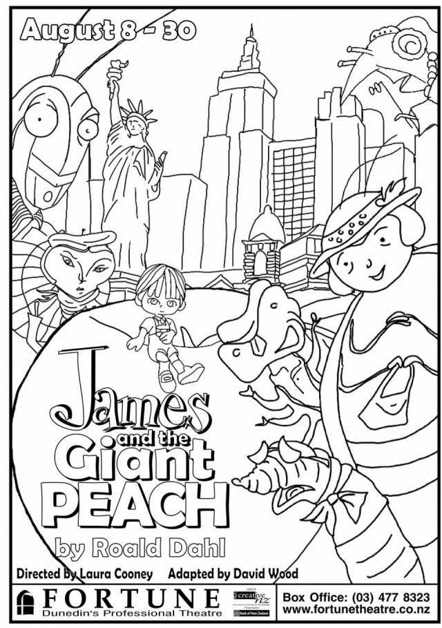 james and the giant peach coloring pages - roald dahl characters free coloring pages