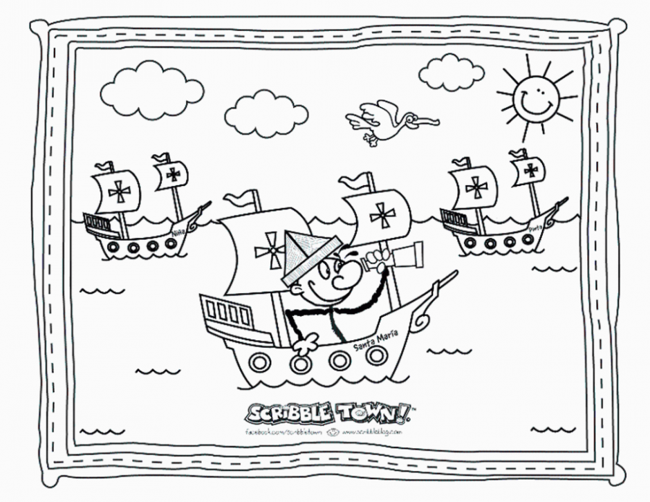 free coloring pages of christopher columbus printable Christopher Columbus Coloring Pages Printable  Christopher Columbus Coloring Sheet