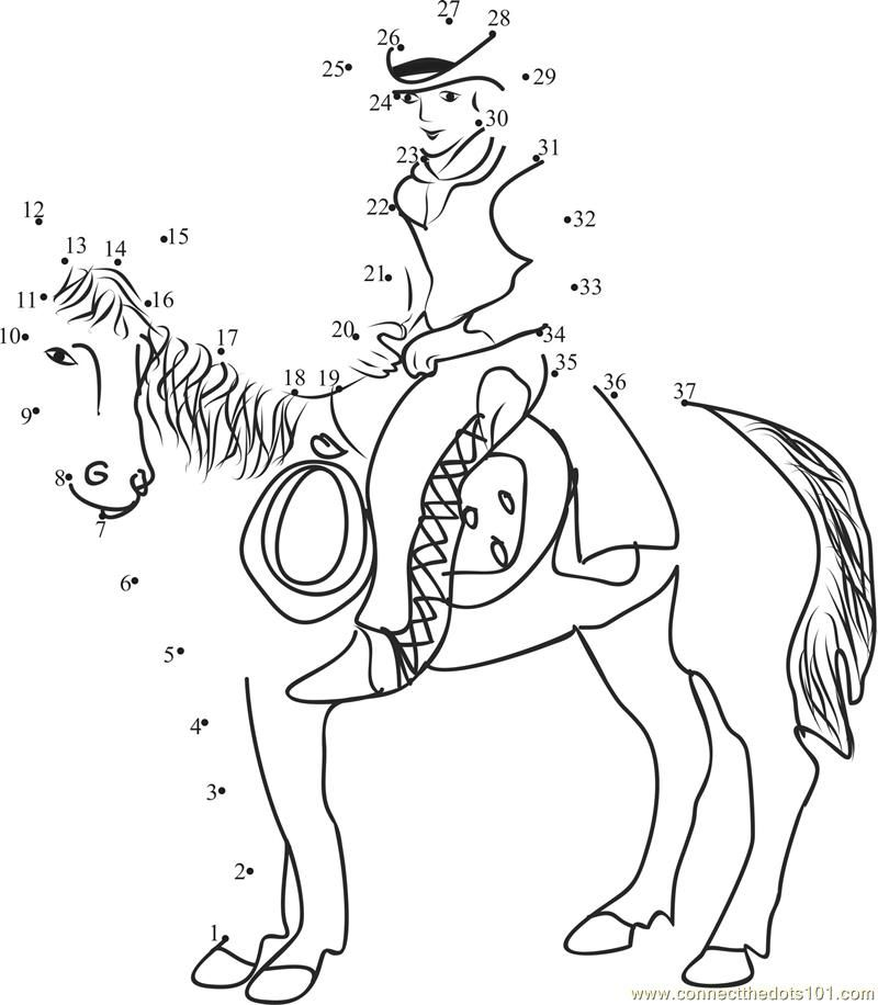 Connect Dots Cowboy Horse Cartoons Cowboys