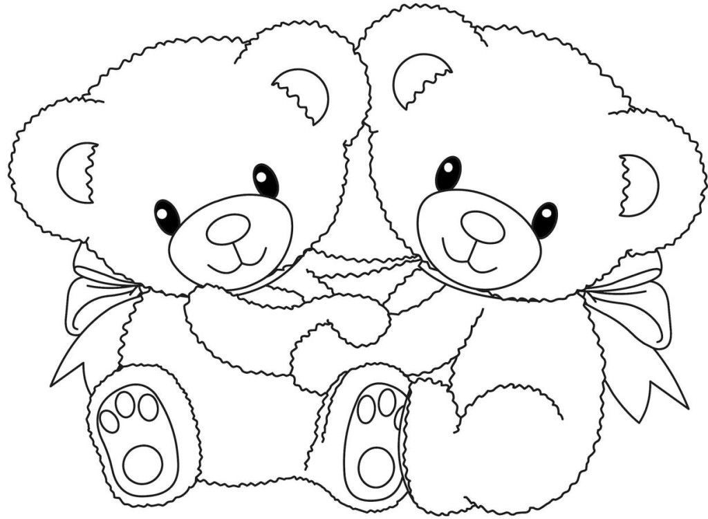 Bear Coloring Pages Pdf : Teddy bear couple coloring pages online printable