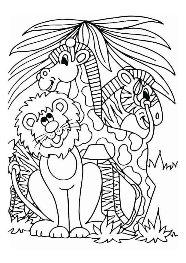 Coloring page lion, giraffe and zebra - img 12528.