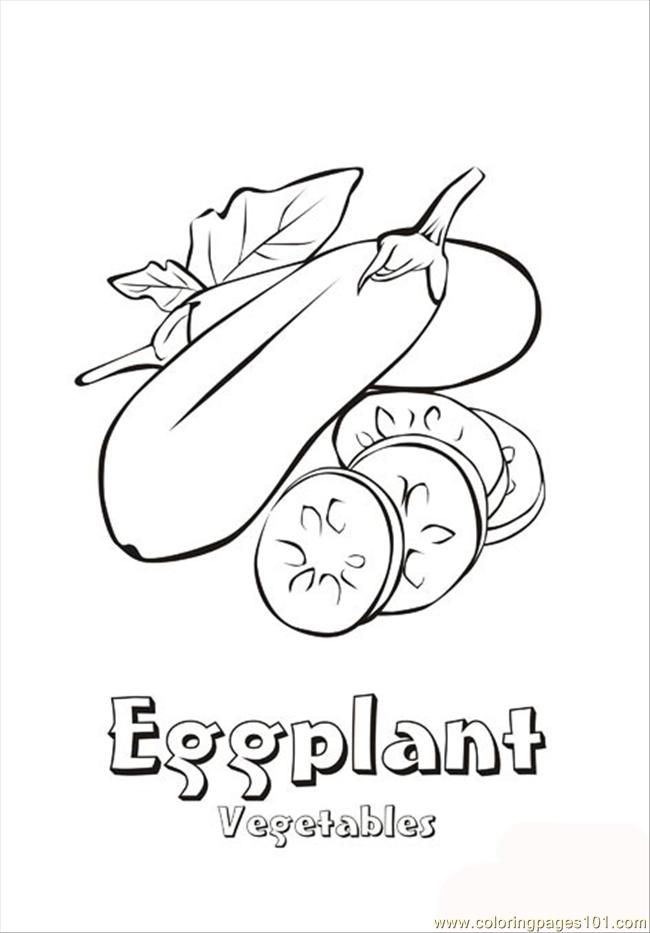 Coloring Pages Eggplant Natural World Vegetables