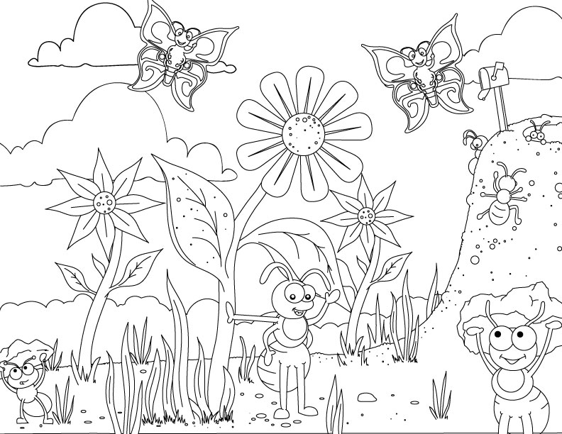 Colouring Pages Educational Free : Ant coloring pages for kids az