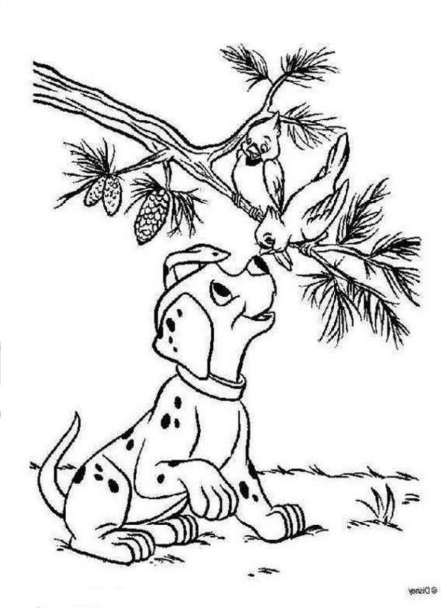 Download A Puppy With A Bird 101 Dalmatians Coloring Pages Or