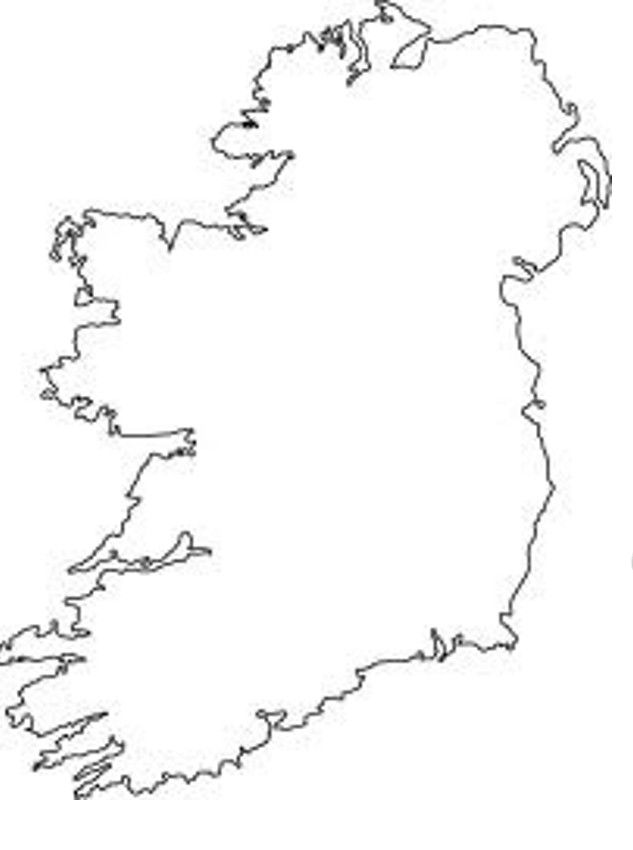 Colouring Pages Ireland : Outline map of ireland az coloring pages