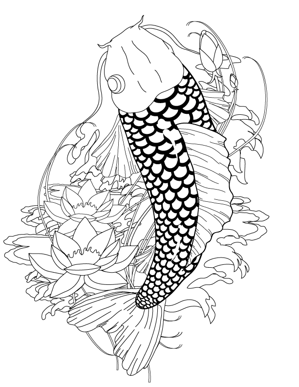 Koi Tattoo Coloring Page | ink ideas