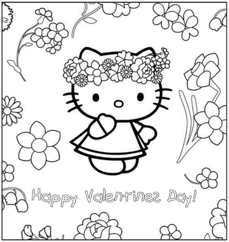 Printable Colouring Sheets Hello Kitty Valentine For Toddler 10100#
