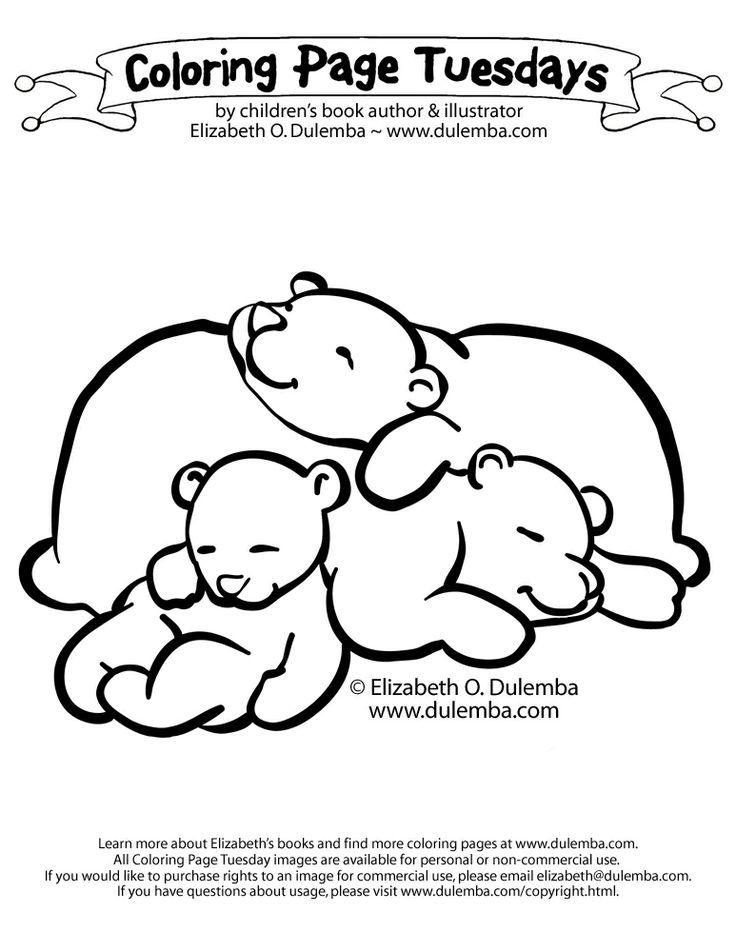 Sleeping Bears Coloring Page