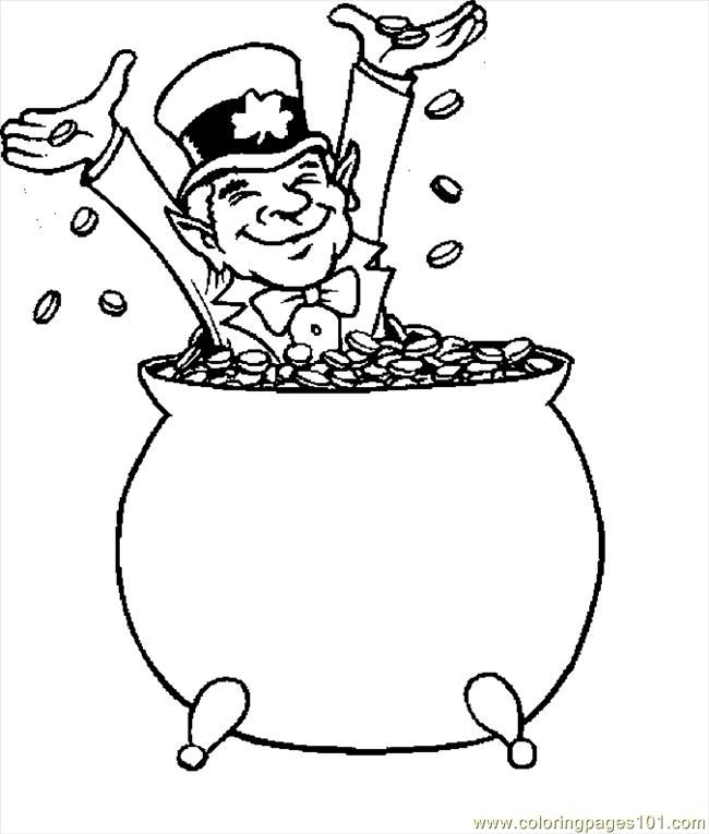 Coloring Pages Leprechaun With Gold 1 (Holidays > St. Patrick's