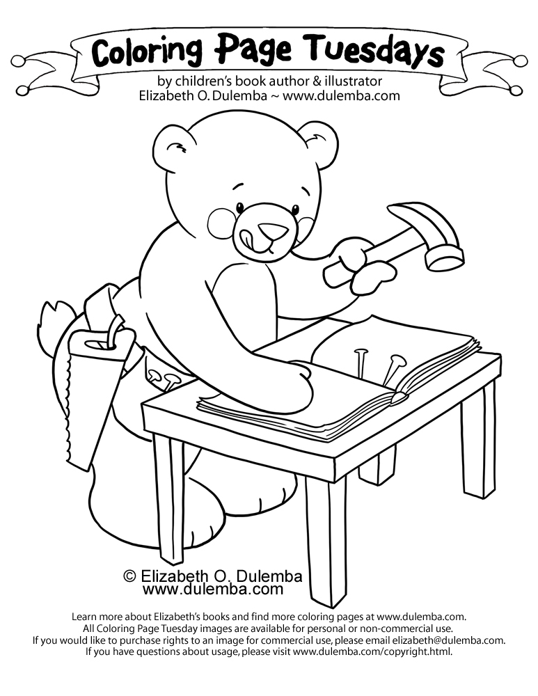 dulemba: Coloring Page Tuesday - Book Making Bear!