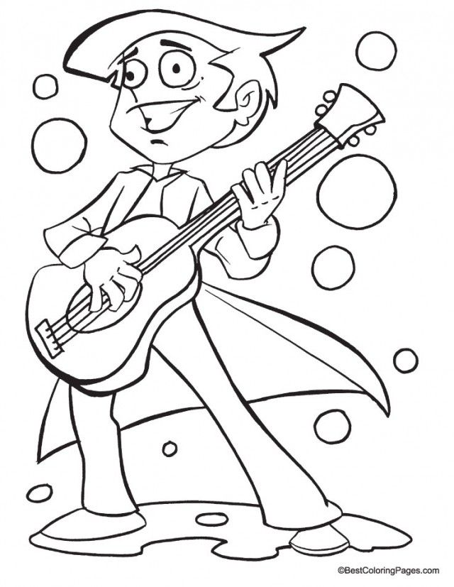 Guitar Coloring Pages Pdf : Boy playing guitar coloring page pages az