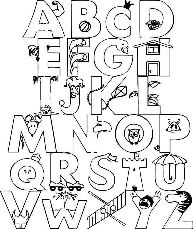 Alphabet Review Coloring Pages : Alphabet color page az coloring pages