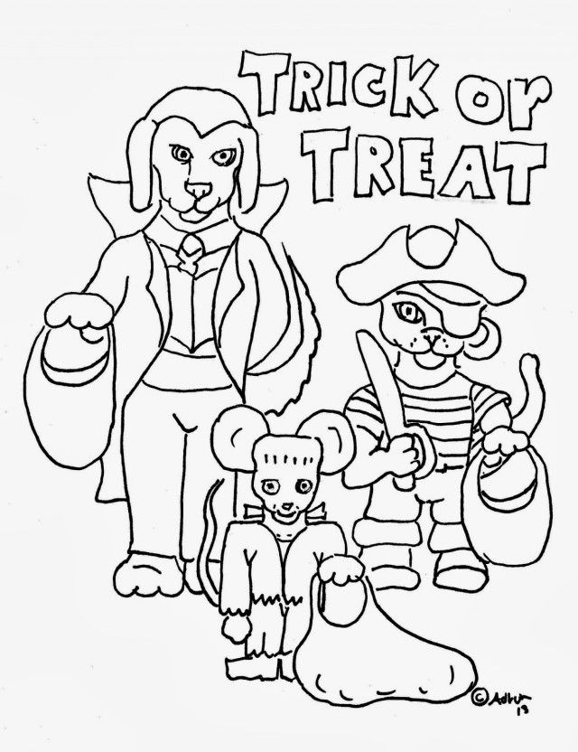 Trick Or Treat Coloring Pages - Coloring Home