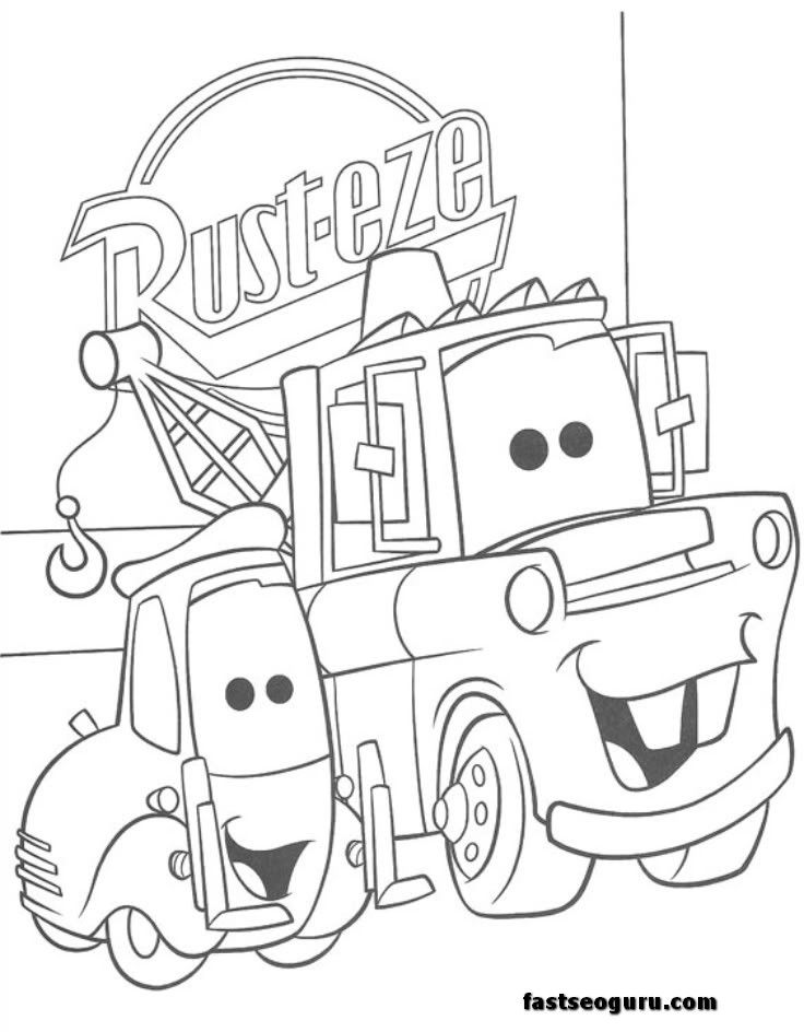 and tow mater coloring pages car printable for kids