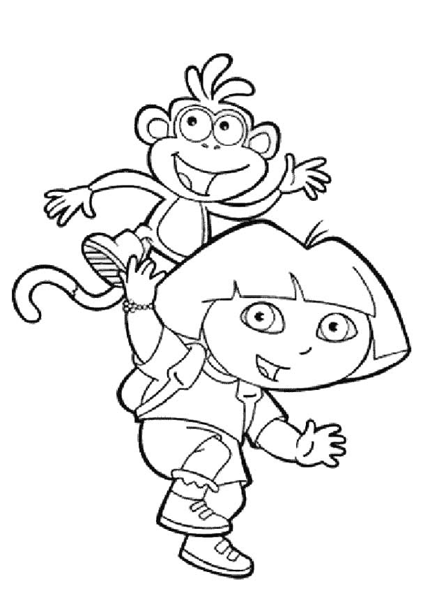 dora the explorer coloring pages dora the explorer and boots - Dora The Explorer Coloring Book