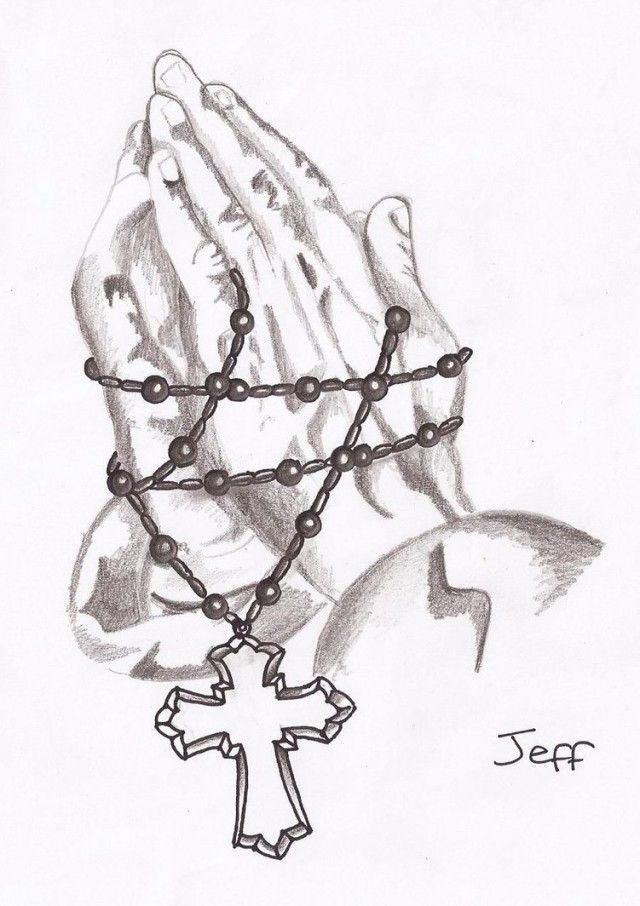 Praying Hands With Rosary Drawing Praying Hands Rosary Beads