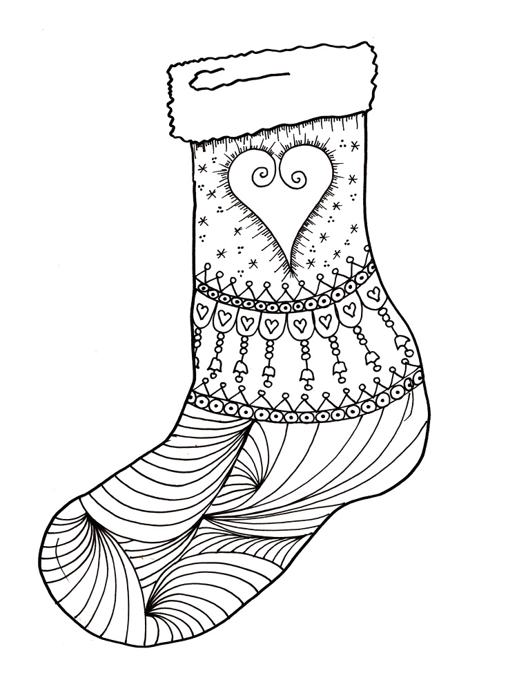 Christmas stocking templates az coloring pages for Christmas stocking color page