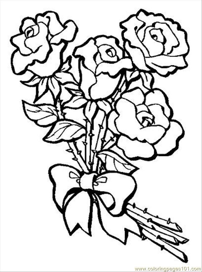 coloring pages s bouquet of rosespreview natural world flowers - Coloring Pages Roses A Vase