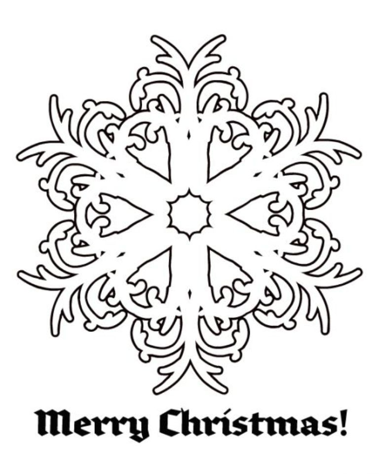 Download Snowflake Merry Christmas Free Coloring Pages For