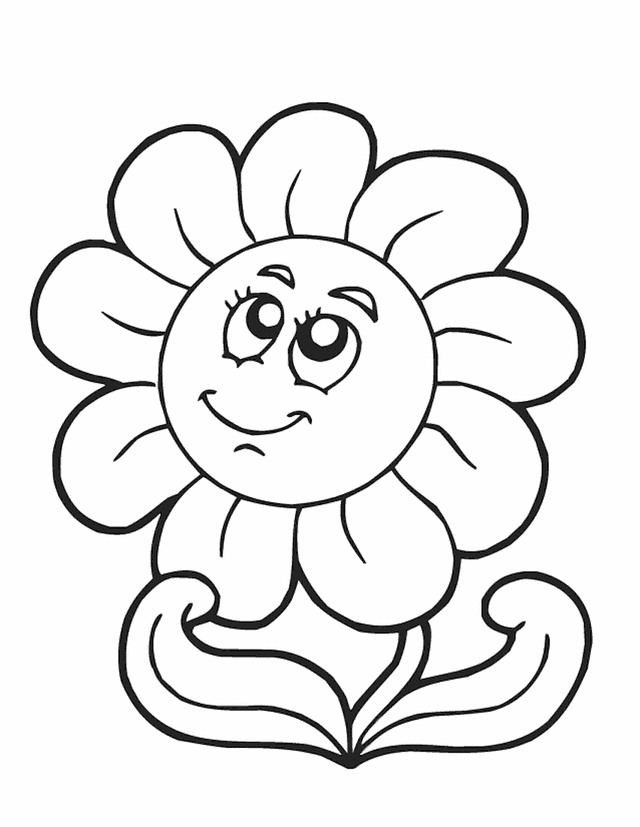 spring_flower-sunflower-coloring | Easy Coloring Pages for All