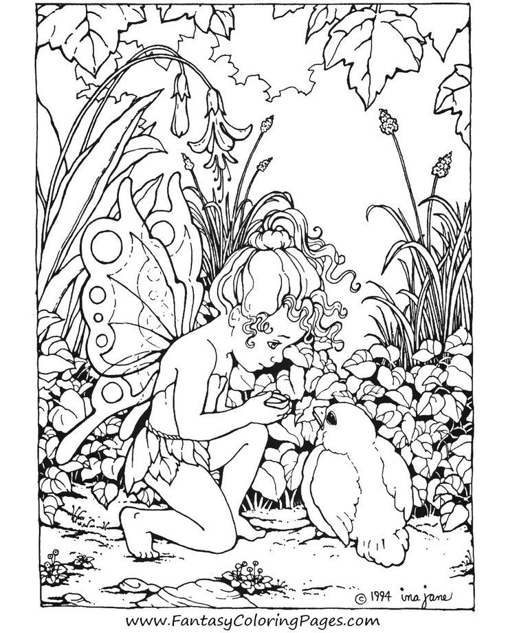 Advanced Coloring Pages Of Fairies : Fantasy coloring pages for adults home