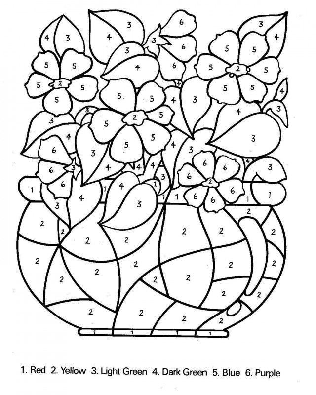 Numbers Coloring Printable Coloring Color By Numbers Coloring