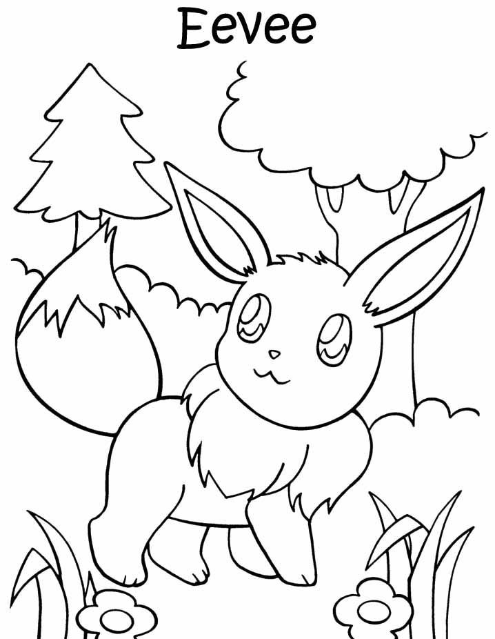 Pokemon pictures of eevee coloring home for Eevee coloring pages to print