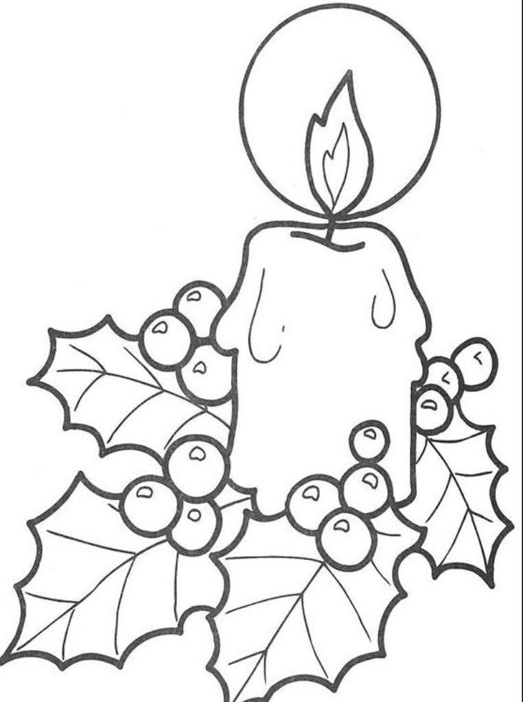Download Simple Free Coloring Pages For Christmas Candle