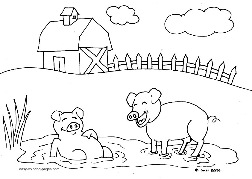 easy farm coloring page -#main
