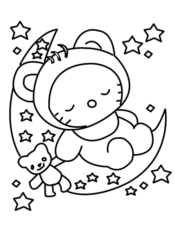 Hello Kitty Sleeping In Christmas Eve Coloring Pages