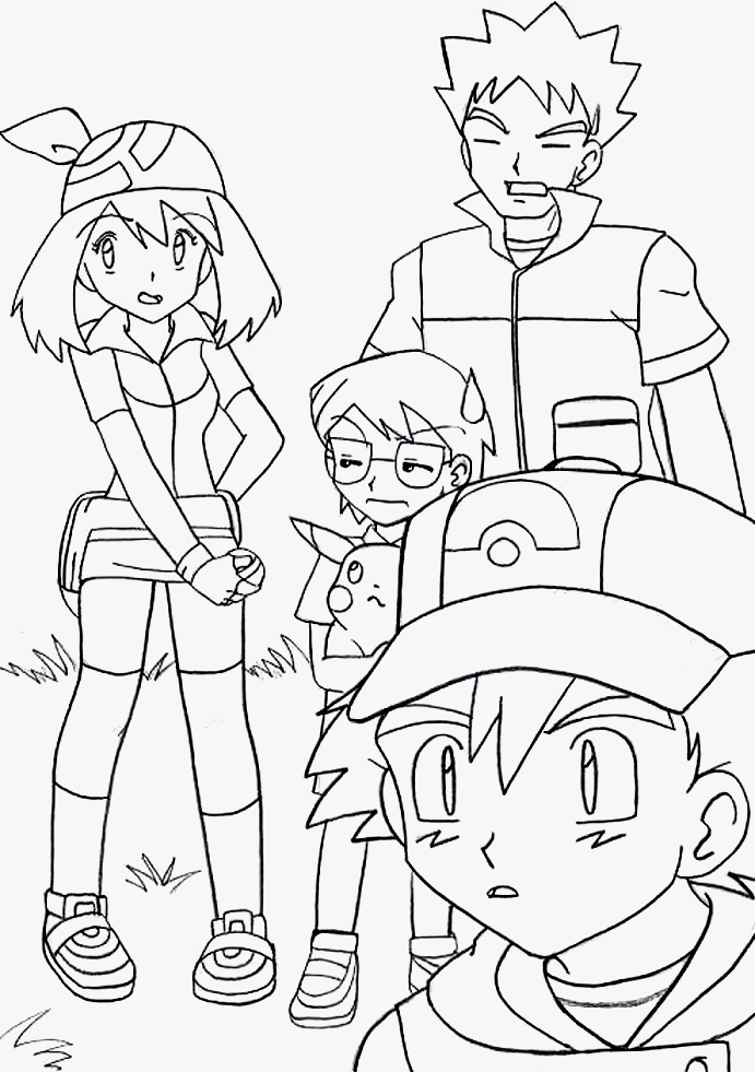 ash misty coloring pages - photo#8