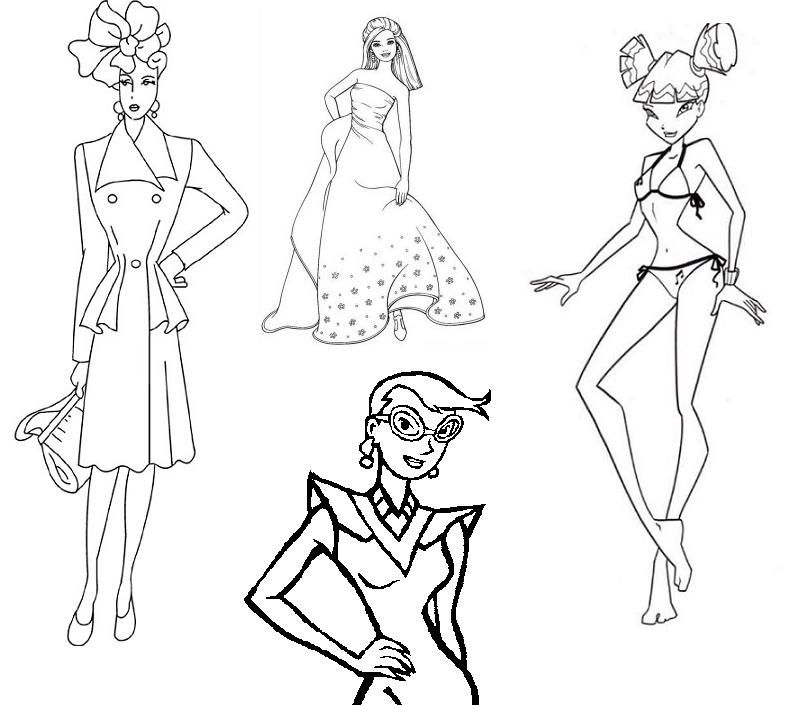 fashion design models Colouring Pages