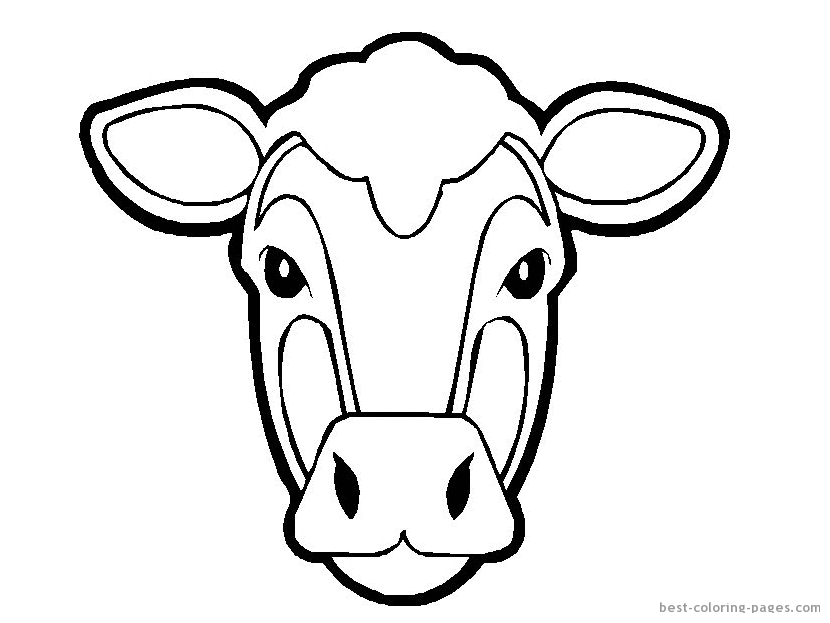 Line Drawing Cow Face : Cow template printable az coloring pages