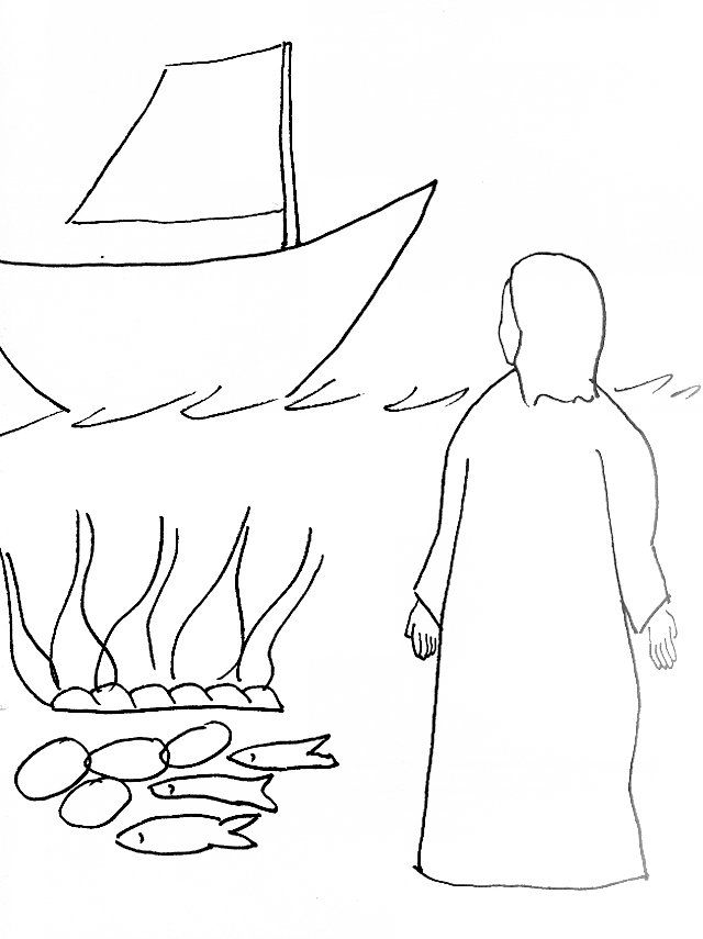 Bible Story Coloring Page for Risen Jesus at the Seashore | Free ...