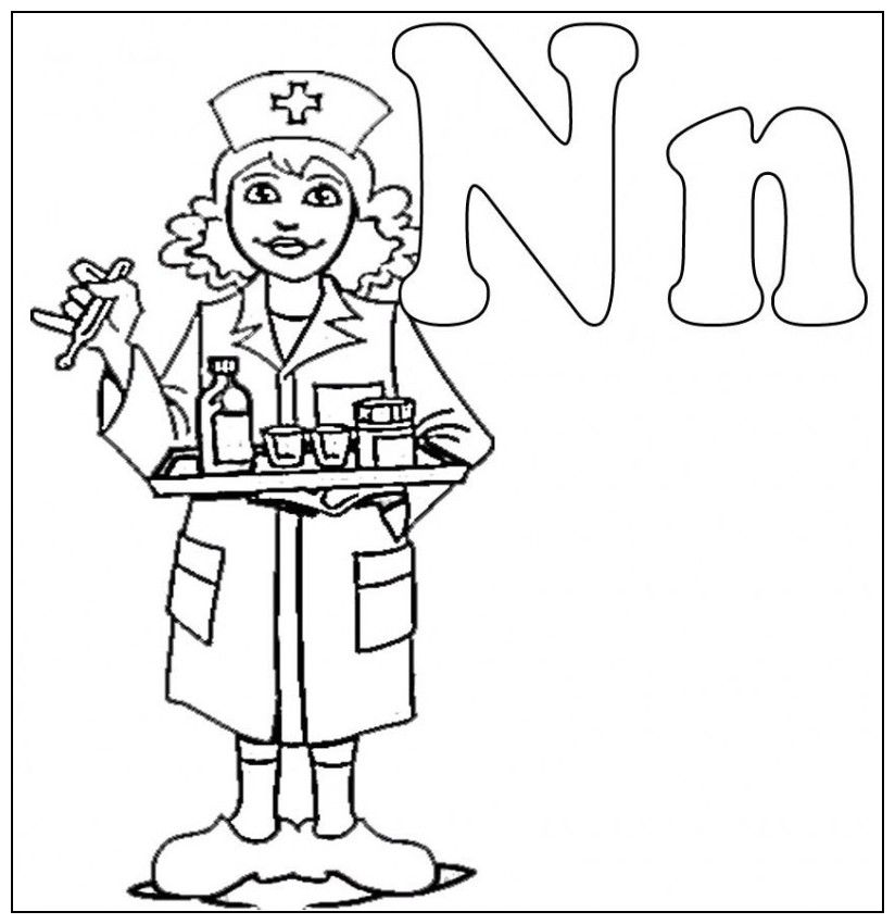 N Is For Nurse Coloring For Kids - Kids Colouring Pages ...