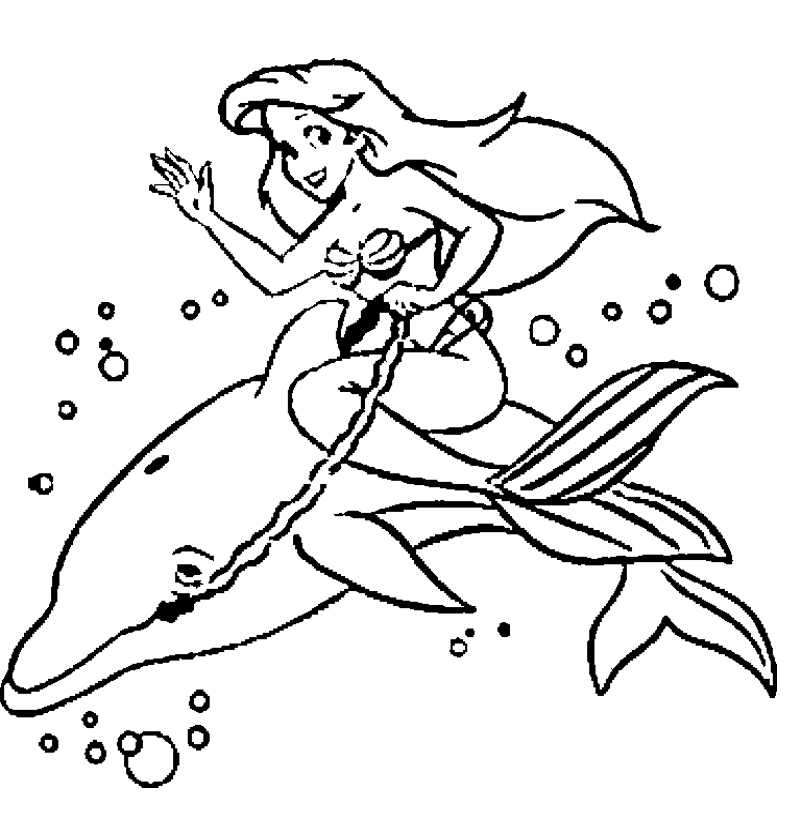 mermaid and dolphin coloring pages - photo#2