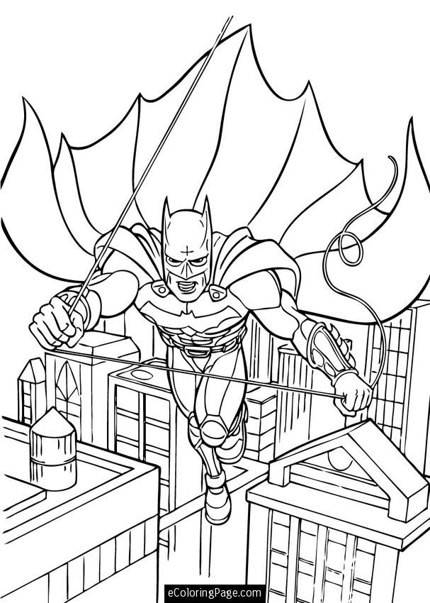 Batman Dark Knight Swinging In Gotham City Coloring Page Printable