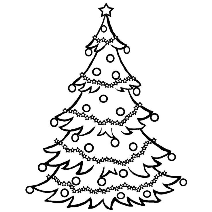 Line Art Xmas : Christmas tree outline clip art coloring home