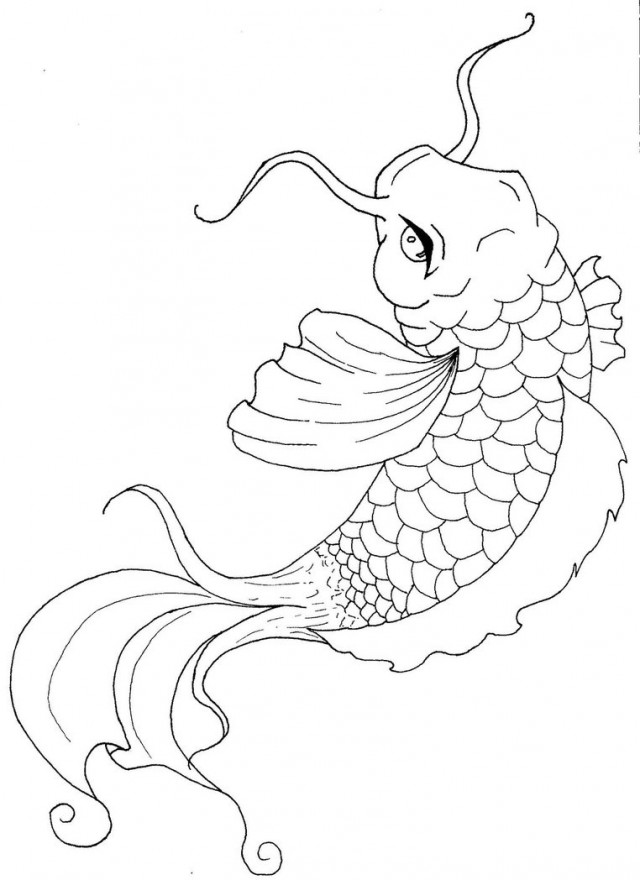 Print These Koi Fish Coloring Pages For Free
