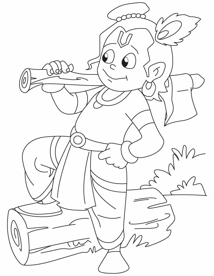 Chota bheem or krishna coloring home for Krishna coloring pages