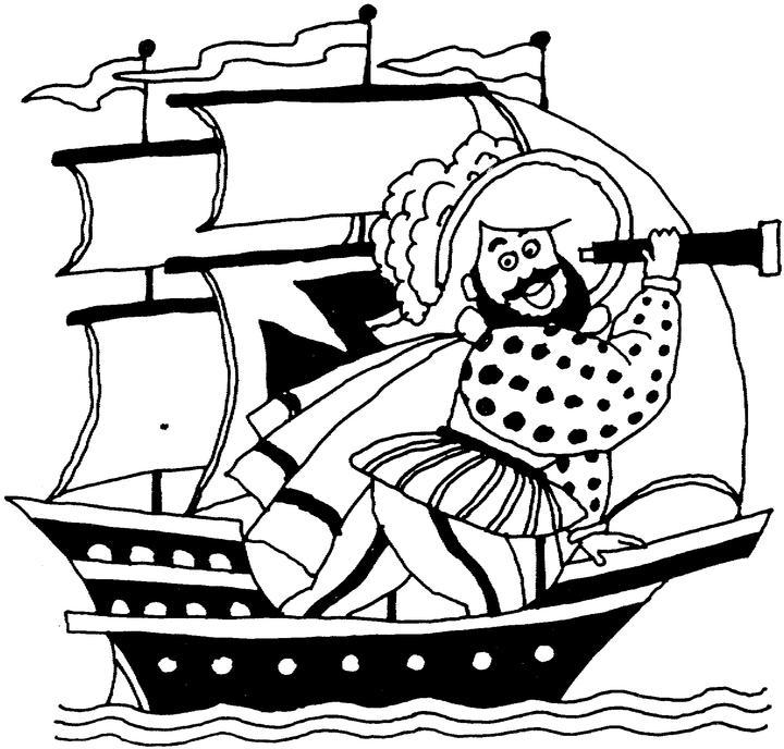 Christopher Columbus coloring page - Nina, Pinta and Santa Maria ... | 688x720