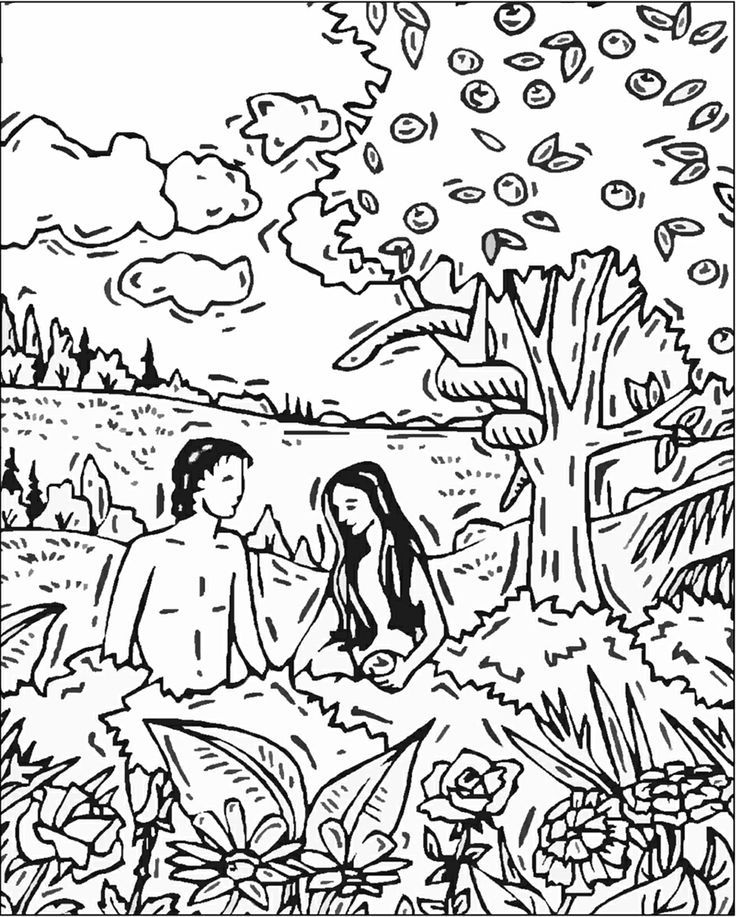 Colouring Page Of Adam And Eve Ashamed File 2mb After Adam And Eve