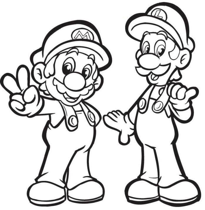 mario with luigi coloring pages | Holden's Stuff