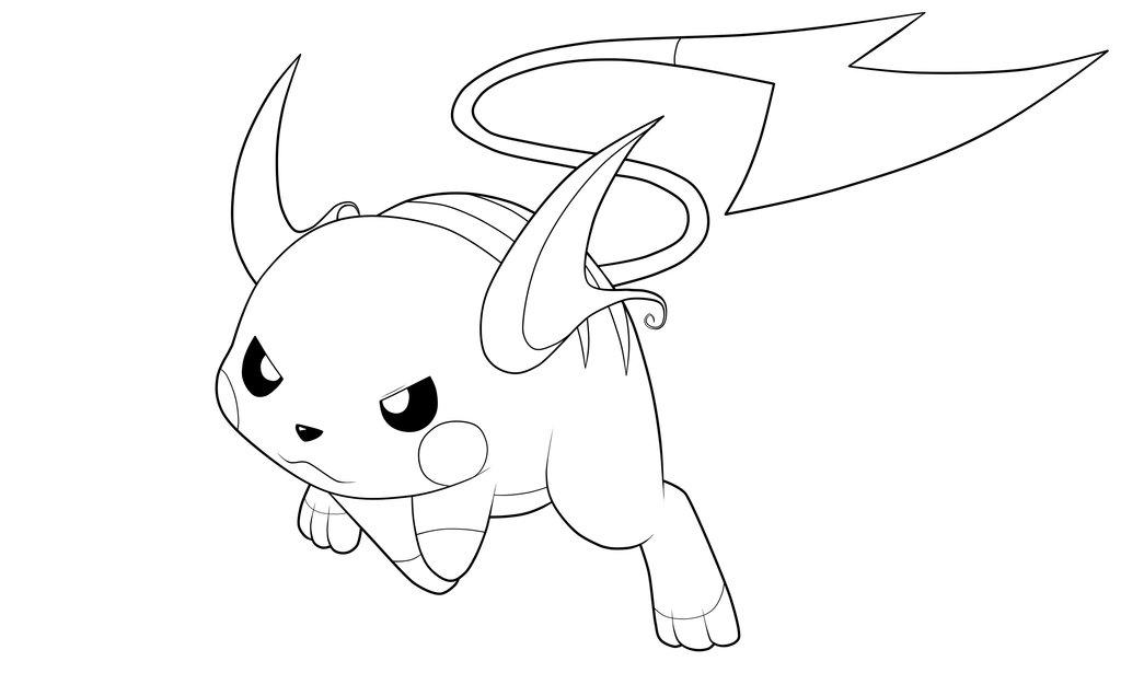 Chibi Raichu Pokemon Coloring Pages