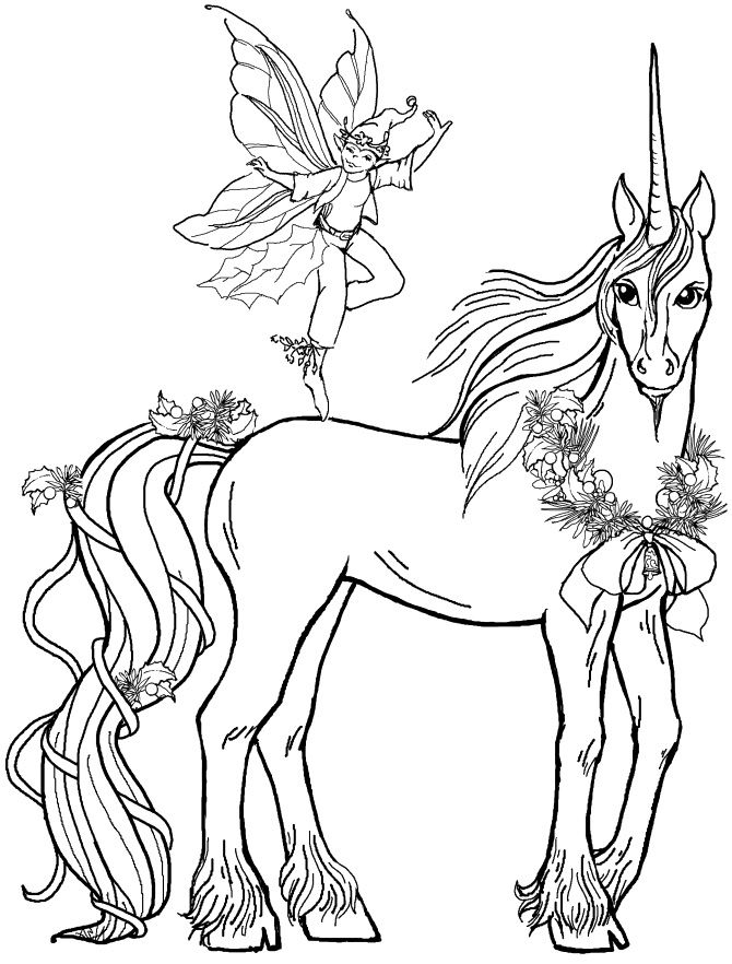 Pictures Fairy Boy With Unicorn Coloring Pages - Unicorn Coloring