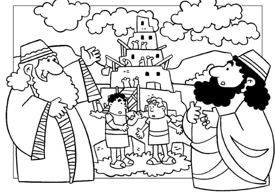 Tower of babel coloring page coloring home - Torre di pagina da colorare babele ...