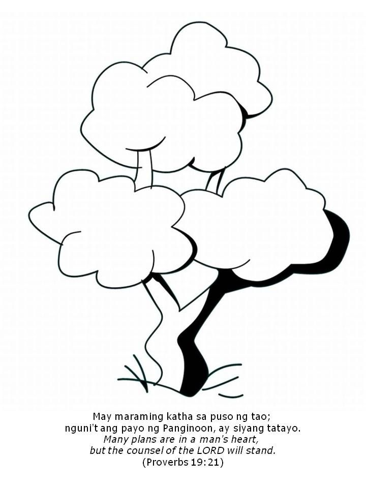 three trees coloring pages - photo#1