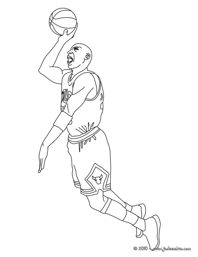 Coloriage STARS du BASKETBALL - MICHAEL JORDAN à colorier