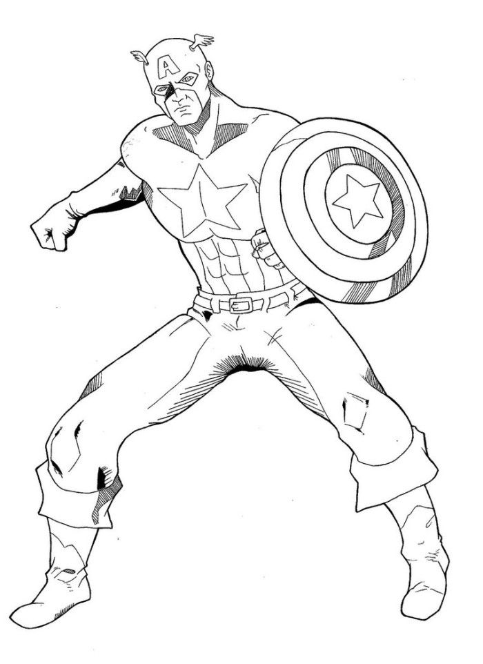 Cool Captain America Coloring Page - Superheroes Coloring Pages on